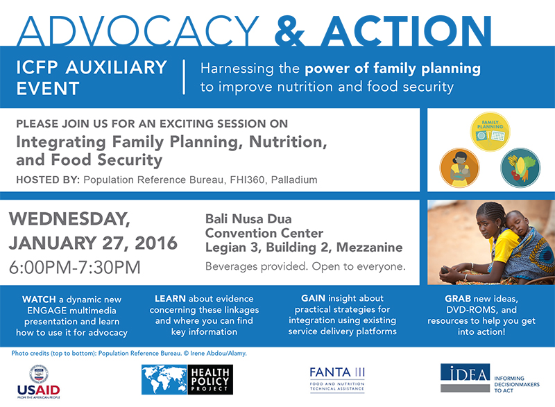 Advocacy and Action ICFP Auxiliary Event flyer