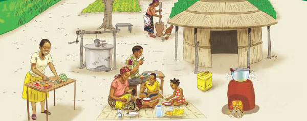 Illustration of village life taken from the counselling materials