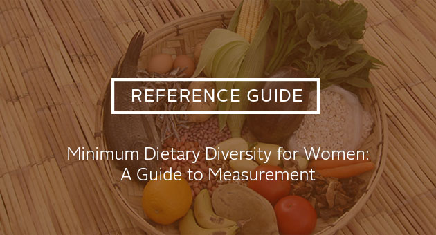 Reference Guide: Minimum Dietary Diversity for Women: A Guide to Measurement. Photo of a basket full of food.