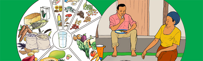 illustrations of nutritious foods and people eating