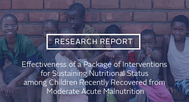 Research report: Effectiveness of a Package of Interventions for Sustaining Nutritional Status among Children Recently Recovered from Moderate Acute Malnutrition. Photo of children standing by a wall.