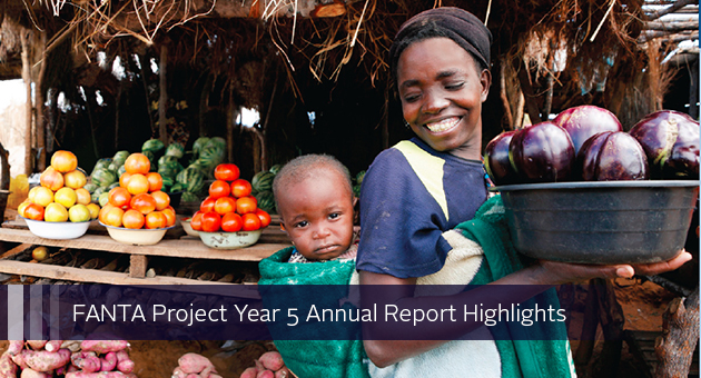 FANTA Project Year 5 Annual Report Highlights. Photo of woman at produce stand with a baby on her back.