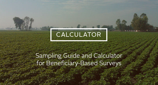 Calculator: Sample Guide and Calculator for Beneficiary-based Surveys. Photo of field of green crops