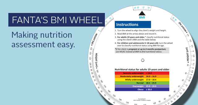 FANTA's BMI wheel. Making nutrition assessment easy. image of the front side of the BMI wheel