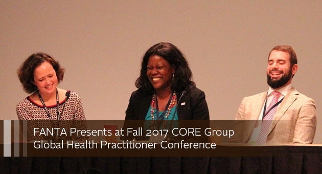 FANTA Presents at Fall 2017 CORE Group Global Health Practitioner Conference. Photo of three panelists