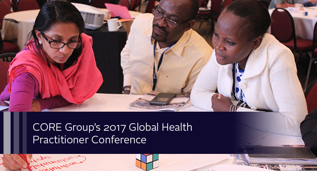 CORE Group's 2017 Global Health Practitioner Conference. Photo of three people collaborating at a conference table.