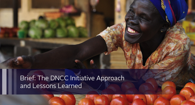 Brief: The DNCC Initiative Approach and Lessons Learned. Photo of woman selling produce at a market stall