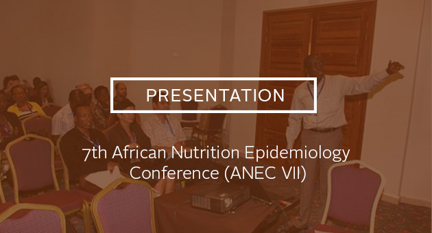 Presentation: 7th African Nutrition Epidemiology Conference (ANEC VII). Photo of presentation.