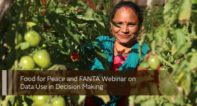 Food for Peace and FANTA Webinar on Data Use in Decision Making. photo of woman standing among tomato plants