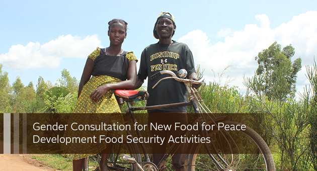 Gender Consultation for New Food for Peace Development Food Security Activities. Photo of man and woman with bike by a field