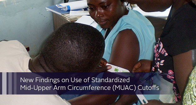 New Findings on Use of Standardized Mid-Upper Arm Circumference (MUAC) Cutoffs. Photo of woman having her arm measured.