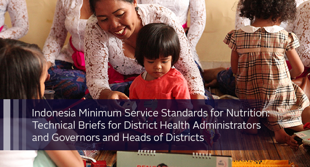Indonesia Minimum Service Standards for Nutrition: Technical Briefs for District Health Administrators and Governors and Heads of Districts. photo of clinic with staff and small children
