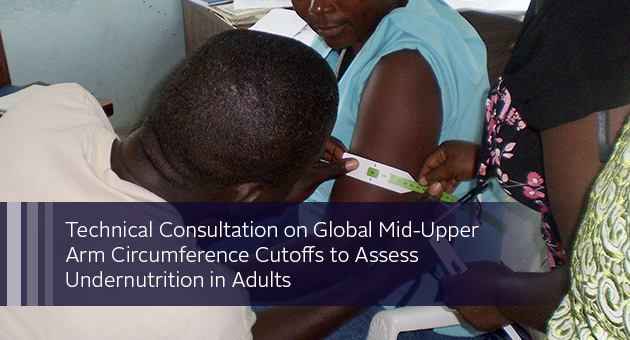 Technical Consultation on Global Mid-Upper Arm Circumference Cutoffs to Assess Undernutrition in Adults. Photo of woman having her arm measured