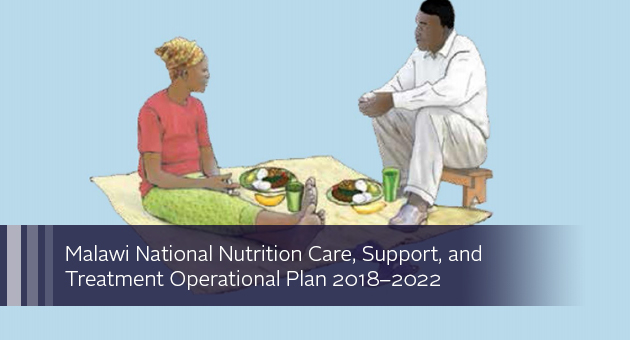 Malawi National Nutrition Care, Support, and Treatment Operational Plan 2018-2022. illustration of two people conversing over a meal