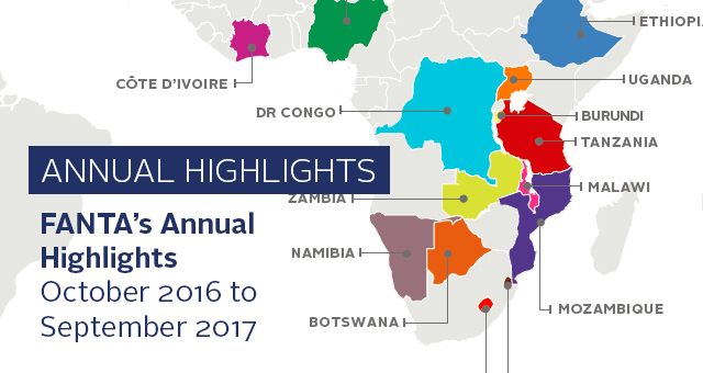 FANTA's Annual Highlights October 2016 - September 2017. world map with highlighted countries where FANTA worked