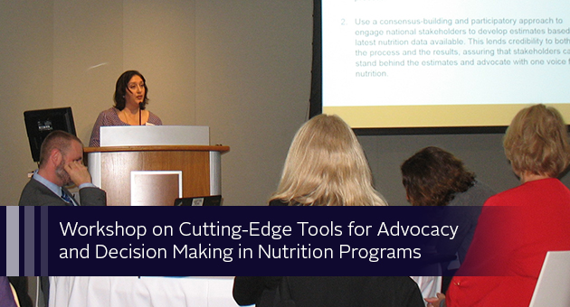 Making in Nutrition Programs, Kavita Sethuraman presented on PROFILES and activity-based costing and Monica Woldt was a member of a facilitated panel discussion about the tools. Photo of Kavita Sethuraman speaking at a podium.
