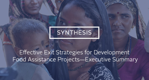 Synthesis: Executive Strategies for Development Food Assistance Projects -- Executive Summary. Photo of woman holding a baby while she stands in line at a health clinic