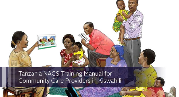 Tanzania NACS Training Manual for Community Care Providers in Kiswahili. Illustration of someone giving presentation to families.