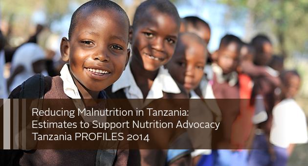 Reducing Malnutrition in Tanzania: Estimates to Support Nutrition Advocacy, Tanzania PROFILES 2014. Photo of line of schoolchildren