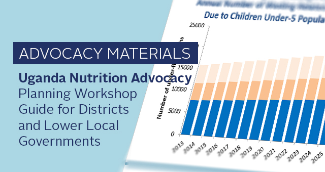 Advocacy materials: Uganda Nutrition Advocacy Planning Workshop Guide for Districts and Lower Local Governments. bar chart