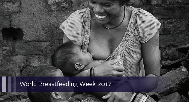 World Breastfeeding Week 2017. photo of woman breastfeeding baby next to toddler