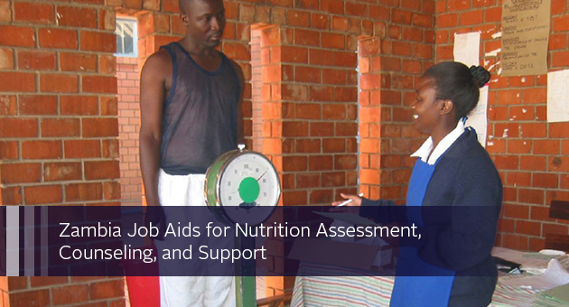 Zambia Job Aids for Nutrition Assessment, Counseling, and Support. photo of man being weighed