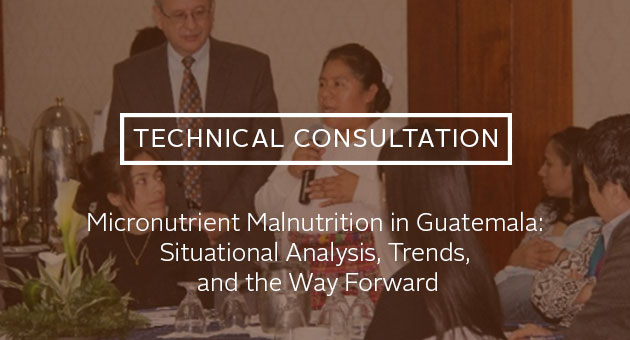 Technical Consultation: Micronutrient Malnutrition in Guatemala: Situational Analysis, Trends, and the Way Forward. Photo of woman addressing meeting participants.