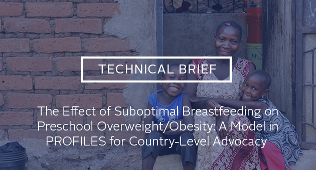 Technical brief: The Effect of Suboptimal Breastfeeding on Preschool Overweight/Obesity: A Model in PROFILES for Country-Level Advocacy. photo of mother with two kids