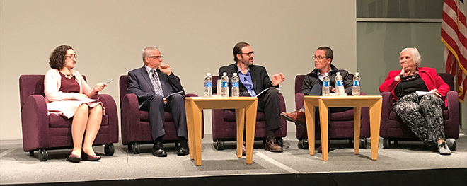 a panel of 5 speakers