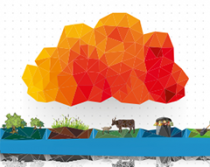 graphic of orange cloud over crops and livestock