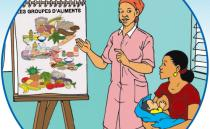 illustration from flipchart of new mother learning about food groups