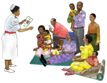 illustration of staff person speaking to a group of families