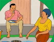 illustration of people eating