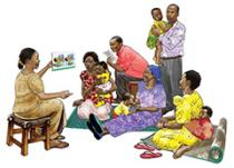illustration of someone presenting to families