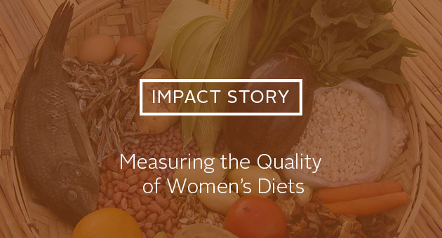 Impact Story: Measuring the Quality of Women's Diets. Photo of variety of foods in a basket.